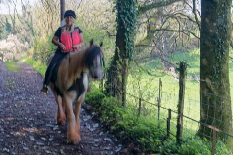 A young lady pony trekking along a country lane