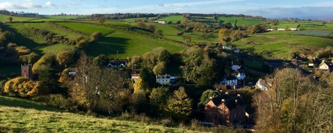 Image of the village of Combeinteignhead and surrounding fields taken from a hill overlooking the village