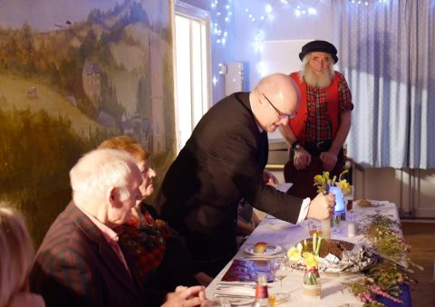 Photo of a toast to the Haggis on Burns night