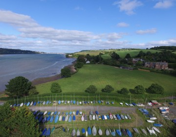 Aerial view of Hearn Field and the River Teign, looking towards the river mouth