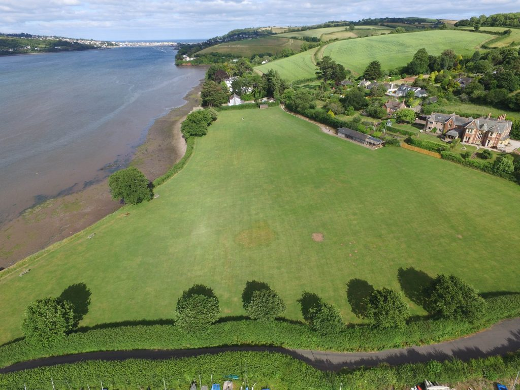 Aerial shot of Hearn Field and the River Teign