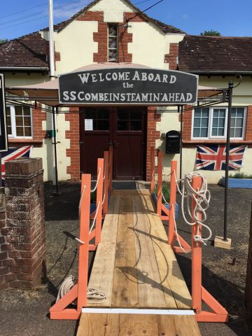 Photo of the entrance to Combeinteignhead Village Hall decked out for the village summer ball