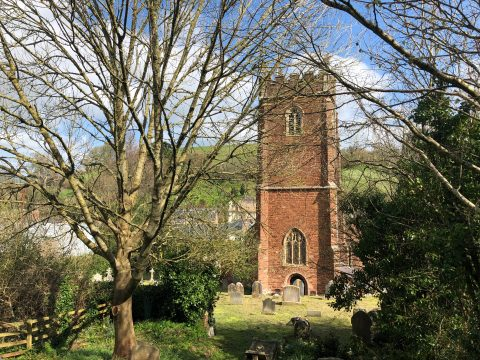 Image of the tower of All Saints church, Combeinteignhead, taken from the cemetery with a couple of trees in the foreground