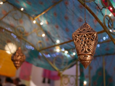 Photo of decorations at the Bollywood evening at Combeinteignhead village hall
