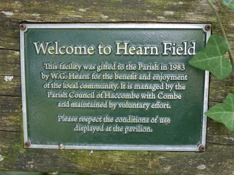 Photo of the plaque welcoming visitors to Hearn Field