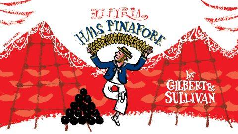Cartoon poster promoting HMS Pinafore